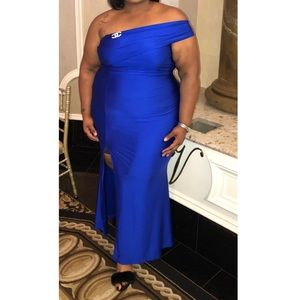 Royal Blue Gown with Slit
